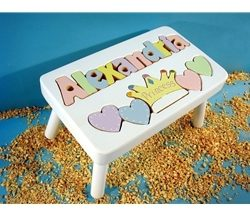 White Personalized Princess Name Stool