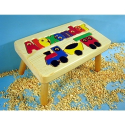 Personalized Name Puzzle Train Stool