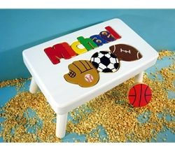 White Personalized Name With Sport Stool