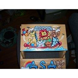 Hand Painted Flip Stool Noahs Ark
