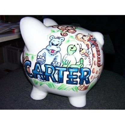 A piggy bank with the name Carter on it.