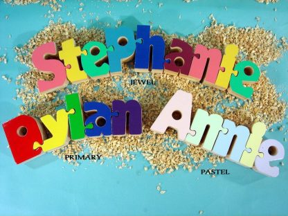 Three childrens puzzles with the names Stephanie, Dylan and Annie